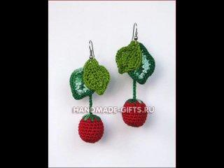 На заказ уточняйте.  Вязаные вишенки серьги - ягодные украшения.